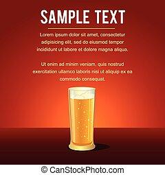 birra, vettore, lungo, bevanda