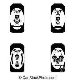 birra, vettore, set., collezione