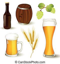 birra, vettore, set