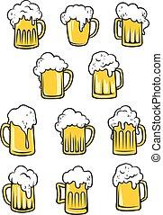 birra, vettore, tankards