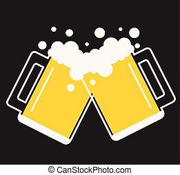 birra, vettore, tazza