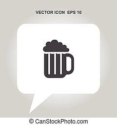 birra, vettore, tazza, icona