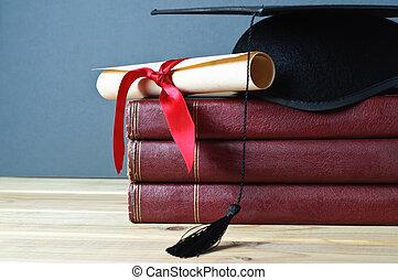 birrete, libros, rúbrica, graduación