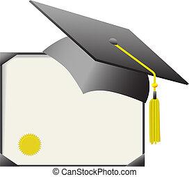 birrete, tapa graduación, y, diploma, certificado