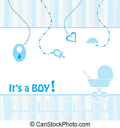Birth Announcement Card - baby boy, vector illustration