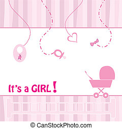Birth Announcement Card - baby girl, vector illustration