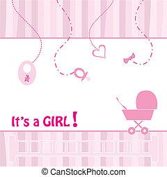 Birth Announcement Card - baby girl, vector illustration