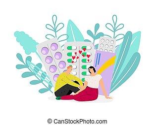 Birth control. Woman health, contraception. Vector couple in love and pills