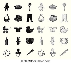 Birth of a baby black. mono icons in set collection for design. Newborn and accessories vector symbol stock web illustration.
