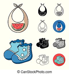 Birth of a baby cartoon, black, flat, monochrome, outline icons in set collection for design. Newborn and accessories vector symbol stock web illustration.
