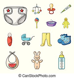Birth of a baby cartoon icons in set collection for design. Newborn and accessories vector symbol stock web illustration.