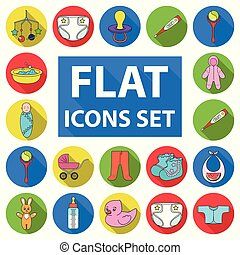 Birth of a baby flat icons in set collection for design. Newborn and accessories vector symbol stock web illustration.