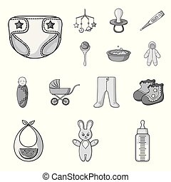 Birth of a baby monochrome icons in set collection for design. Newborn and accessories vector symbol stock web illustration.