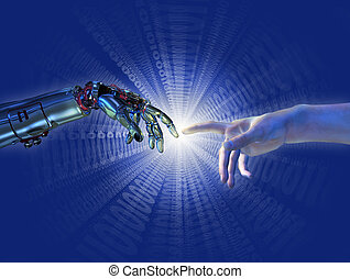 """Robot and human hands almost touching with a binary burst of light - 3D render with digital painting. A modern take on the famous Michelangelo painting in the Sistine Chapel; titled, """"The Creation of Adam""""."""