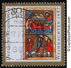 Birth of Jesus Christ - A greeting Christmas stamp printed...