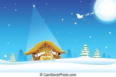 Birth of Jesus - illustration of nativity scene showing...