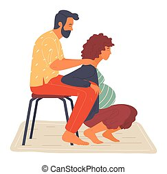 Birth position for pregnant woman, husband help wife to relax, making massage, comfortable posture