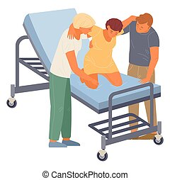 Birth position for pregnant woman, husband, nurse help to relax at medical bed, comfortable posture