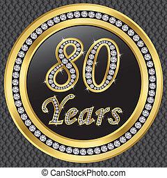birthda, 80, años, aniversario, feliz