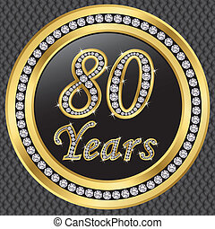 birthda, 80, années, anniversaire, heureux
