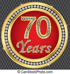 birthda, aniversario, años, 70, feliz