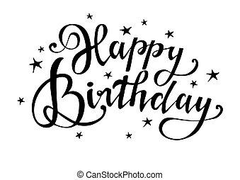 birthday., τυπογραφία , design., βούρτσα , handwritten , ευτυχισμένος , card., χαιρετισμός , γράμματα