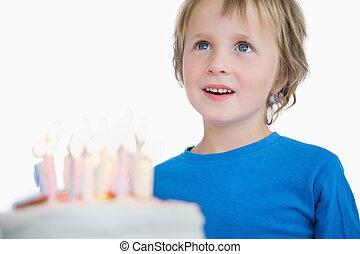 birthday, わずかしか, ケーキ, かわいい, 男の子