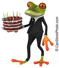 birthday, カエル, 楽しみ, 3d, ケーキ, イラスト, -