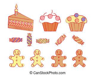 birthday, セット, sweetmeats