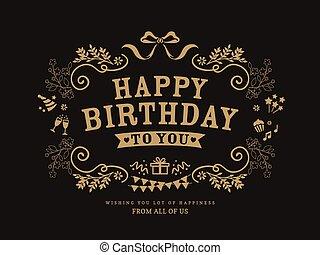 birthday, デザイン, カード, テンプレート
