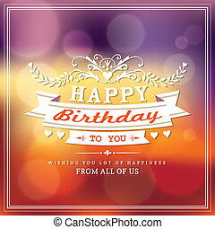 birthday, デザイン, カード, 幸せ