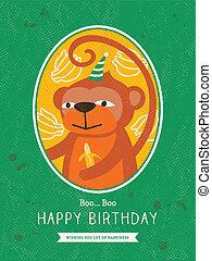 birthday, デザイン, サル, カード, 漫画