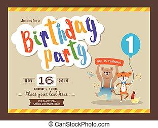 birthday, デザイン, テンプレート, パーティー, カード, 幸せ