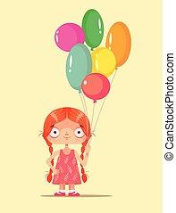 birthday, デザイン, 微笑, パーティー。, 女の子, わずかしか, 特徴, 隔離された, 保有物, マスコット, 幸せ, 平ら, カラフルである, イラスト, 子供, 子供, 漫画, 祝福, おめでとう, グラフィック, balloons., ベクトル