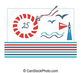birthday, デザイン, 海, パーティー, ∥あるいは∥, カード