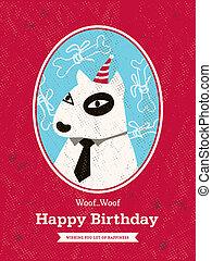 birthday, デザイン, 犬, カード, 漫画