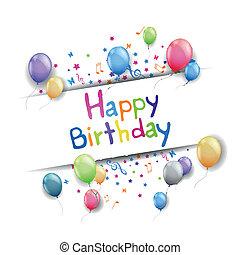 birthday, ベクトル, グリーティングカード, 幸せ