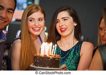 birthday, 友人, 一緒に, 祝う