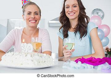 birthday, 女性, ケーキ, 朗らかである