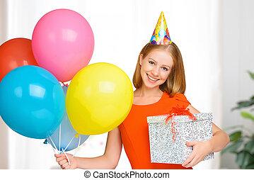 birthday, 女, 幸せ, 贈り物, ボール