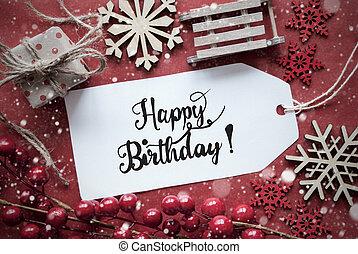 birthday, 幸せ, ラベル, 装飾, 赤, クリスマス
