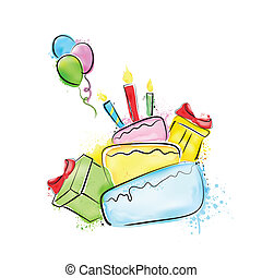 birthday, 絵, 幸せ