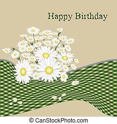 birthday, 花, カード