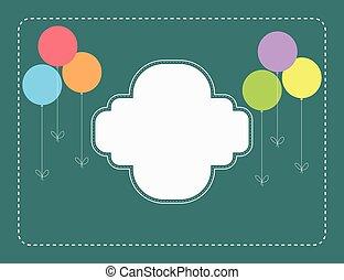 birthday, 風船, レトロ, カード