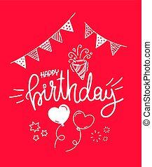 birthday., 인사, 행복하다, 카드, 벡터