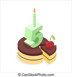 Birthday 5 years. Cake and Candle isometrics. Number five with candle. Celebration of anniversary pie. Piece of festive chocolate cake and cherry. Cheerful celebration