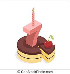 Birthday 7 years. Cake and Candle isometrics. Number seven with candle. Celebration of anniversary cake. Piece of festive chocolate pie and cherry. Cheerful celebration
