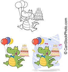 Birthday Alligator. Collection Set