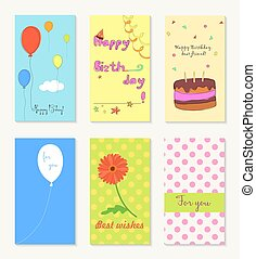 Birthday and holiday invitation greeting cards design with ballon, cup cake, flower and heart.