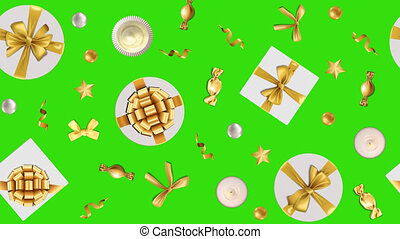 Birthday and holiday seamless animation border with Alpha channel. Looping repeat wallpaper with winter holiday objects, template for greeting cards, posters and covers with text place.
